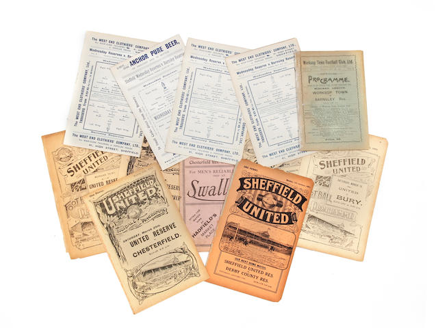 A collection of pre-war 1904 onwards mainly Barnsley reserve team football programmes