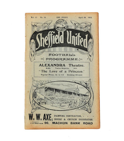 1912 F.A. Cup final replay Barnsley v West Bromwich Albion football programme