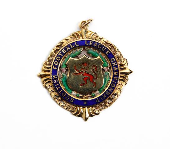 1987 Scottish Football League medal awarded to Rangers coach Phil Boersma