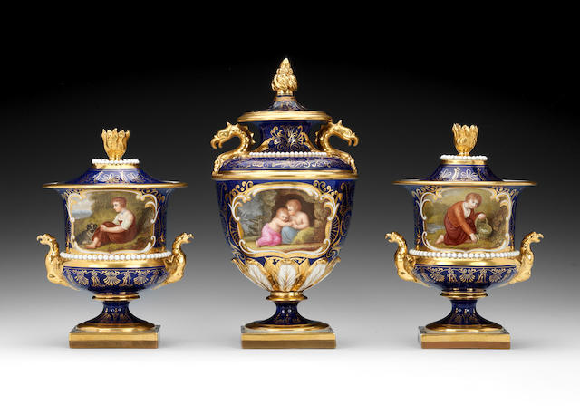 A garniture of three Flight, Barr and Barr vases and covers by John Pennington, circa 1820-25