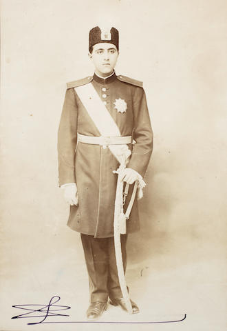 An album of 21 photographs of Ahmad Shah Qajar (reg. ....) and various ministers Persia, early 20th Century, some photographs dated 1921
