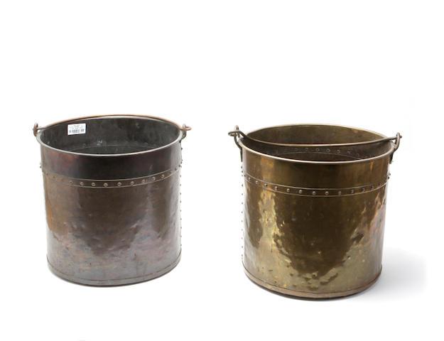 A pair of Edwardian coal bucketsOne copper, one brass