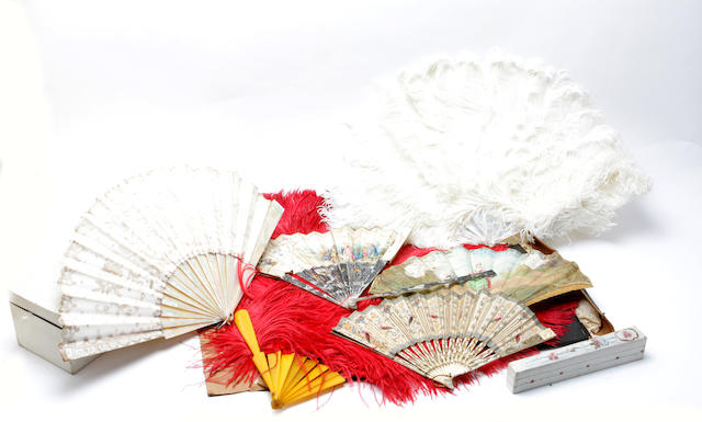 A collection of seven 19th and early 20th century fans