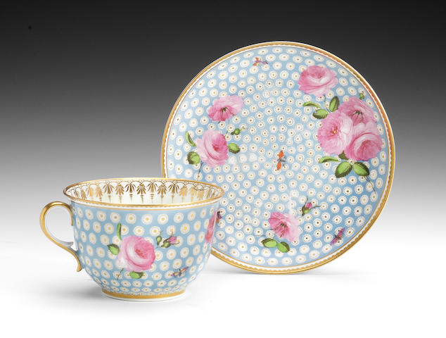 A rare Swansea breakfast cup and saucer, circa 1815-17