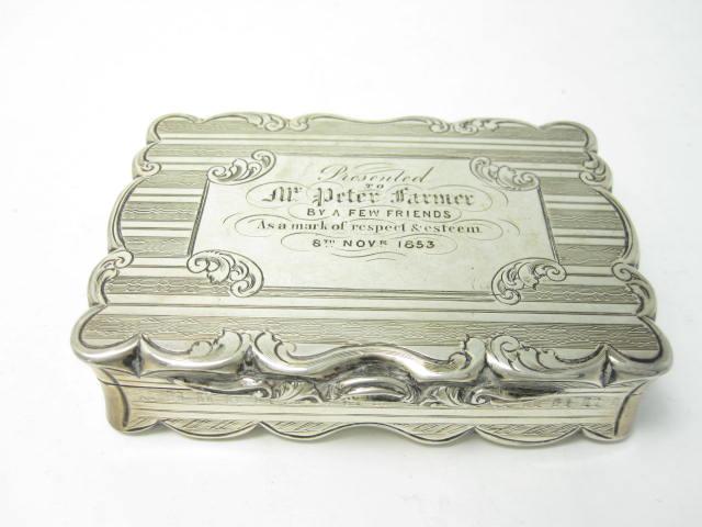 A Victorian snuff box by David Pettifer,  Birmingham 1853