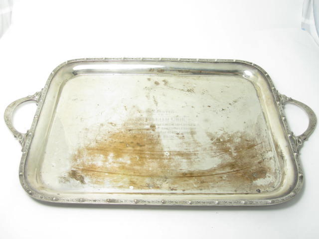 A twin handled silver tray by Davis, Duff & Son, Birmingham 1935