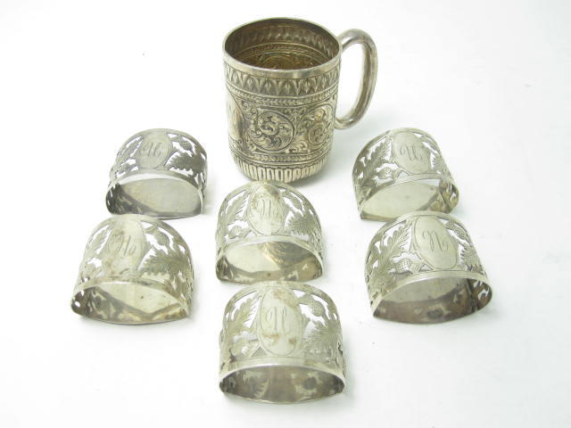 A set of six silver napkin rings by Robert Chandler, Birmingham 1919