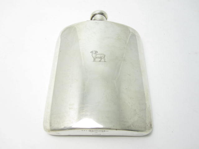 A two gills hip flask by Tiffany & Co, stamped 925-1000 Sterling silver