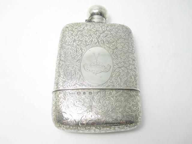 A Victorian silver hip flask maker's mark rubbed, Birmingham 1894