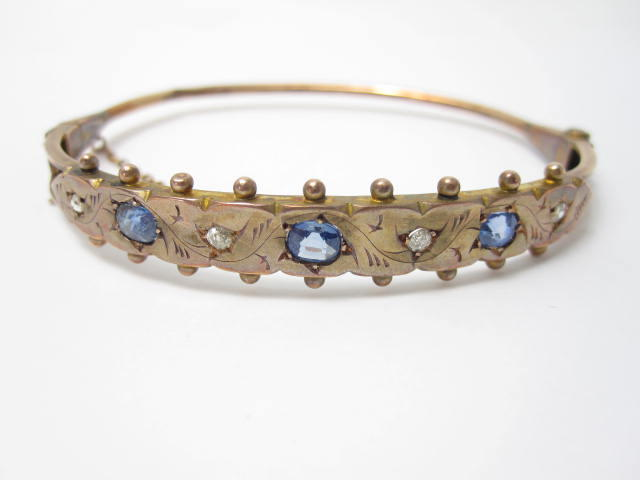 A Victorian sapphire and diamond bangle