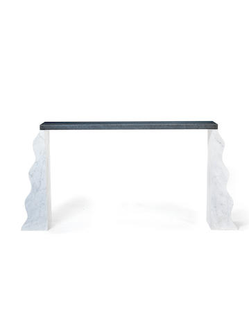 Ettore Sottass for Ultime Edizioni Montenegro Console designed  granite and marble  101 by 211 by 35.5 cm. 39 3/4 by 83 1/16 by x 14 in.