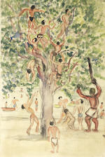 Fahrelnissa Zeid (Turkish 1901-91) Bathers climbing a tree (3)
