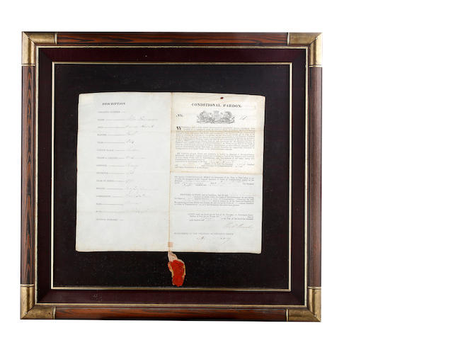A Colonial Convict Pardon on vellum issued to John Fannance on 5th April 1833