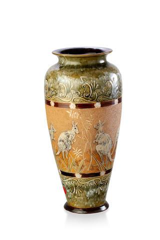A large Doulton Lamberth glazed stoneware vase by Hannah Barlow, 1891