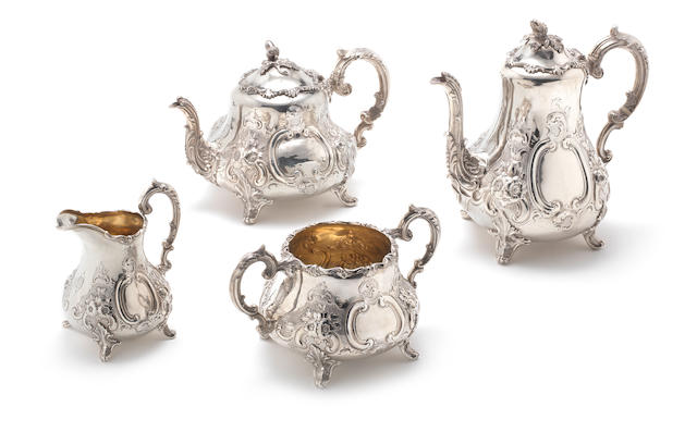 A Victorian silver four-piece tea and coffee service by Thomas Smily, London 1859, together with an electroplated kettle on stand (6)