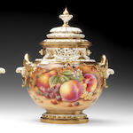 Another Royal Worcester Painted Fruit 'Bow' vase and cover by David Fuller, late 20th century