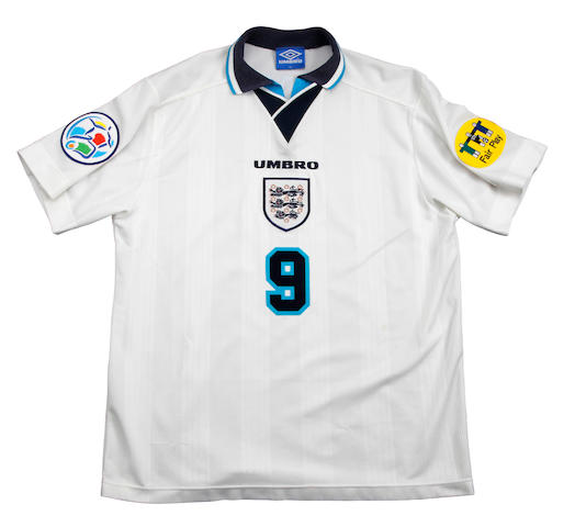 Euro 1996 quarter final - England Alan Shearer match worn shirt