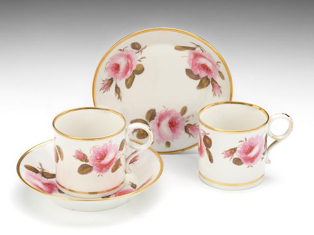 A fine and rare set of six Flight, Barr and Barr coffee cans and saucers, circa 1815