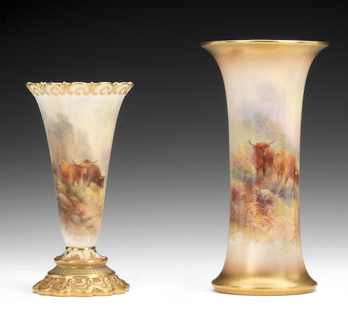 Two Royal Worcester vases by Harry Stinton, dated 1912 and 1934