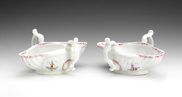 A pair of Worcester two handled sauceboats, circa 1755-56