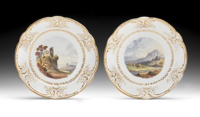 A pair of rare Nantgarw topographical plates, circa 1818-20