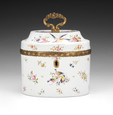 A fine English enamel tea caddy and inner cover, circa 1770
