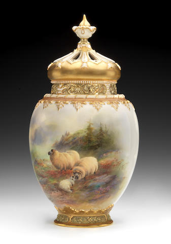 A Royal Worcester pot pourri vase and two covers by Harry Davis, dated 1910