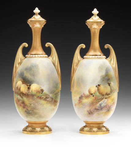 A fine pair of Royal Worcester vases and covers by Harry Davis, dated 1913 and 1914