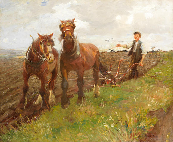 Harold Harvey (British, 1874-1941) The young ploughman