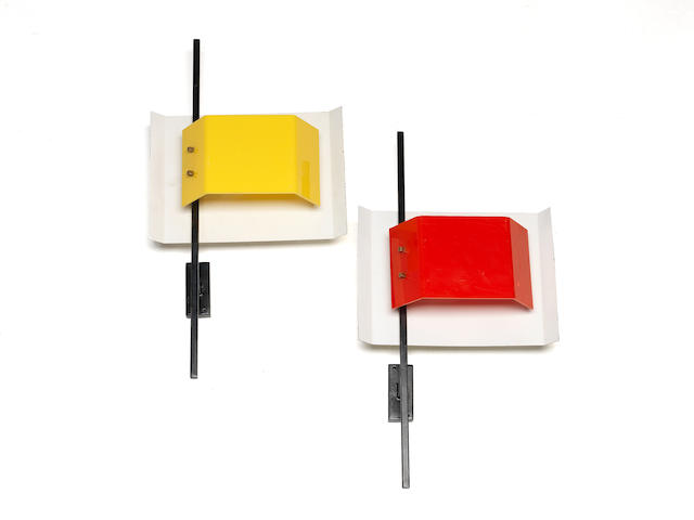 Stilnovo Pair of Wall Lights circa 1955  lacquered metal and perspex CHECK