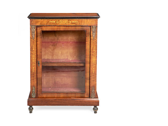 A mid Victorian walnut and fruitwood inlaid pier cabinet