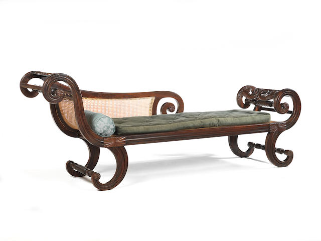 A mid 19th century Anglo Indian rosewood chaise longue