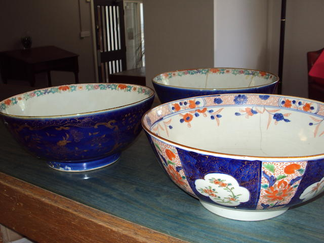 Three large Chinese bowls