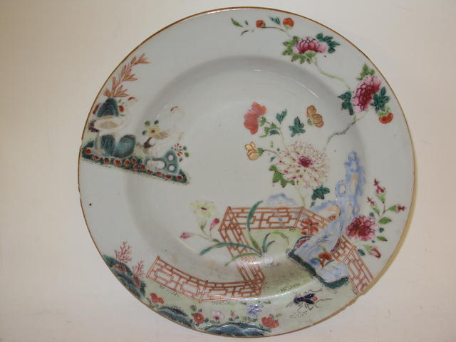 Three Chinese 19th century soup bowls