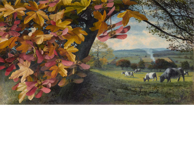 Raymond Booth (British, born 1929) Cows in an autumn landscape