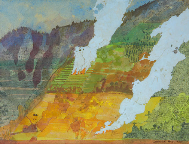 Leonard Rosoman OBERA (British, 1913-2012) Study, fires on a hillside, Java