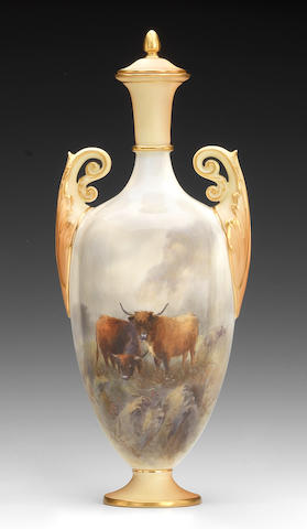 A Royal Worcester vase and cover by John Stinton, dated 1905