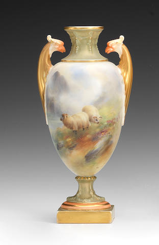 A Royal Worcester vase by Harry Davis, dated 1907
