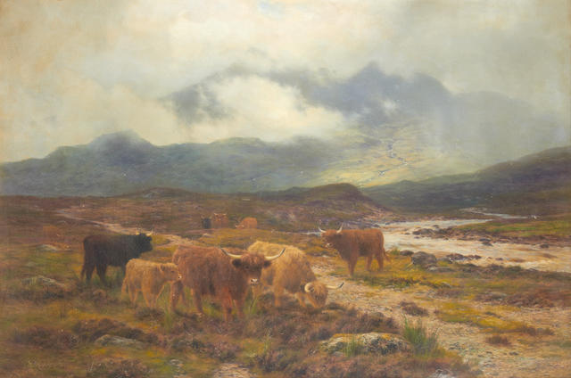 Attributed to Daniel Sherrin (British, 1868-1940) Highland cattle on the banks of a river