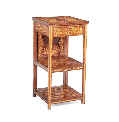 A Dutch mid 19th century mahogany and fruitwood marquetry three-tier 'klapbuffet' washstand