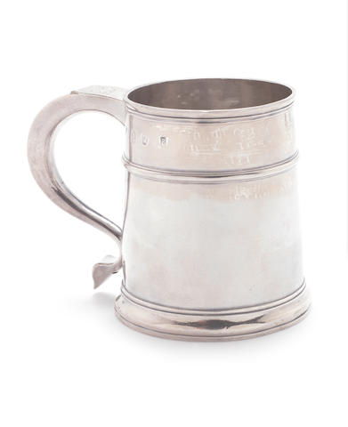 A Queen Anne silver mug by John Fawdery, London 1703