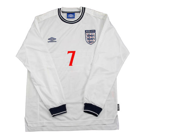 1999 David Beckham match worn England shirt and shorts