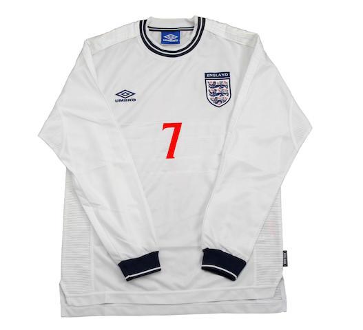 1999 David Beckham match worn England shirt and shorts