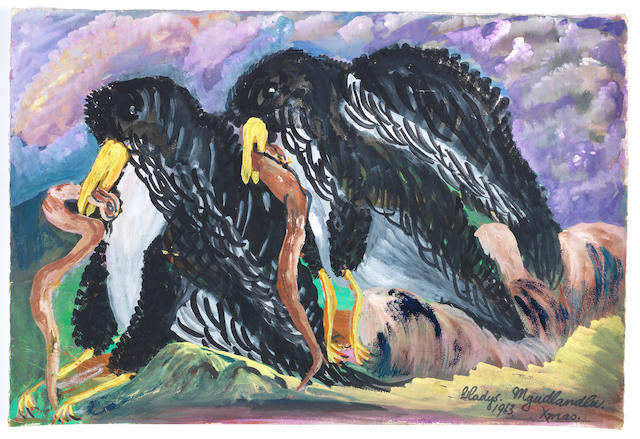 Gladys Mgudlandlu (South African, 1917-1979) 'Eagles eating snakes'