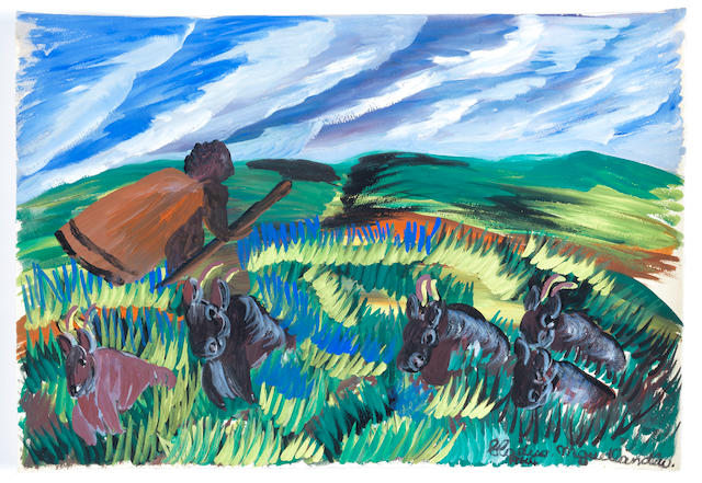 Gladys Mgudlandlu (South African, 1917-1979) 'Fields, woman and cows'
