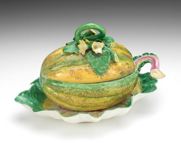 A fine Chelsea melon tureen and a similar leaf dish, circa 1755