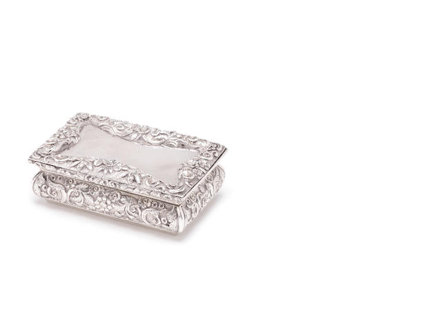 A William IV silver snuff box by Nathaniel Mills, Birmingham 1834