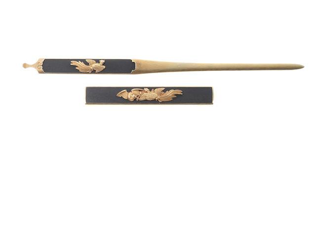 A fine Kikuoka School shakudo kozuka and kogai By Kikuoka Mitsutoshi (died 1863), 19th century (2).