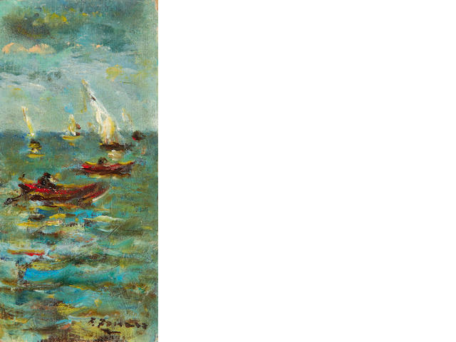 After Fausto Zonaro A group of six studies depicting Istanbul and the surrounding coastline the largest  22 x 12.5cm (8 5/8 x 4 7/8in). (6)
