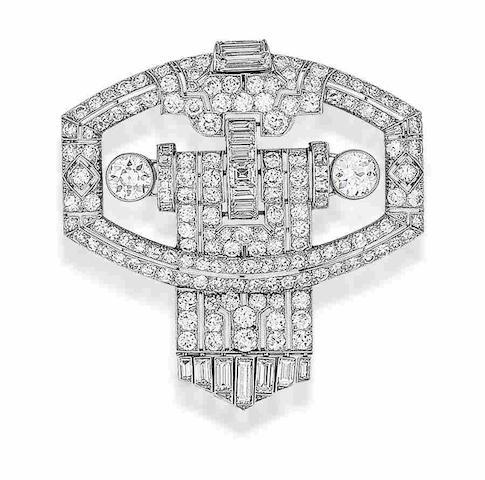 An art deco diamond plaque brooch,